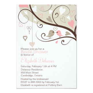 Pink and Gray Love Birds Bridal Shower Invitation