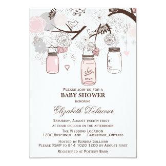 Pink and Gray Mason Jars Baby Shower Invitations