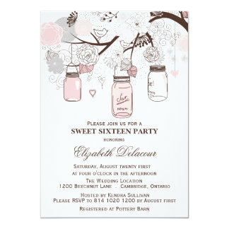 Pink and Gray Mason Jars Sweet Sixteen Invitation