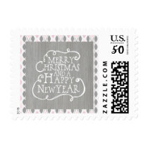 Pink and Gray Merry Christmas Postage