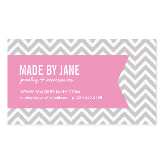 Pink and Gray Modern Chevron Ribbon Business Cards