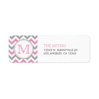 Pink and Gray Modern Chevron with Monogram Return Address Label