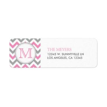 Pink and Gray Modern Chevron with Monogram Custom Return Address Label