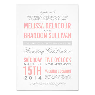 "Pink and Gray Modern Typography Wedding Invitation 5"" X 7"" Invitation Card"