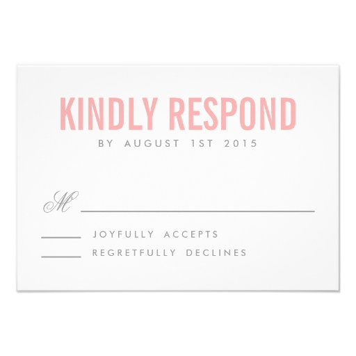 Pink and Gray Modern Typography Wedding RSVP Card