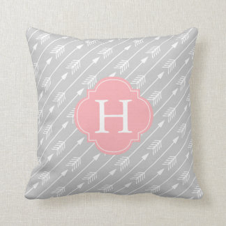 Pink and Gray Monogrammed Arrows Pattern Throw Pillow