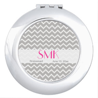Pink and Gray Monogrammed Compact Vanity Mirror
