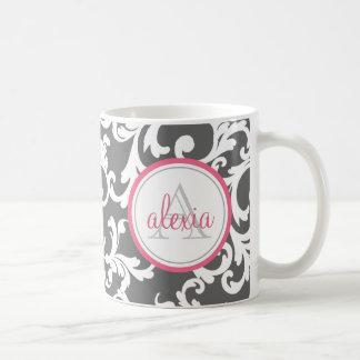 Pink and Gray Monogrammed Damask Print Coffee Mug