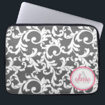 """Pink and Gray Monogrammed Damask Print Computer Sleeve<br><div class=""""desc"""">Pink and Gray Monogrammed Damask Print</div>"""
