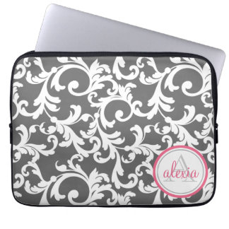 Pink and Gray Monogrammed Damask Print Computer Sleeve