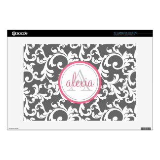 "Pink and Gray Monogrammed Damask Print Decals For 13"" Laptops"