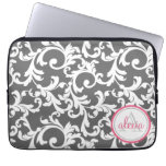 Pink and Gray Monogrammed Damask Print Computer Sleeves