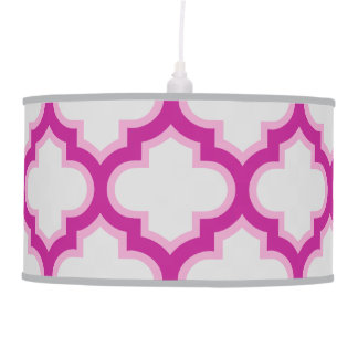 Pink and Gray Moroccan Lattice Ceiling Lamp