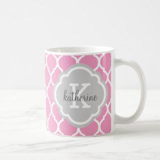 Pink and Gray Moroccan Quatrefoil Monogram Coffee Mug