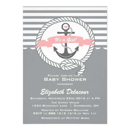 Pink and Gray  Nautical Baby Shower Invitation