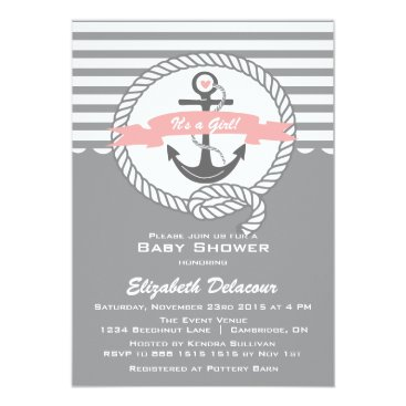 Beach Themed Pink and Gray  Nautical Baby Shower Invitation