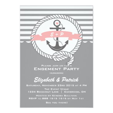 Beach Themed Pink and Gray Nautical Engagement Party Invitation
