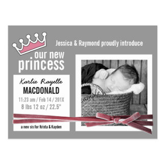 Pink and Gray New Baby Girl with Photo Postcard
