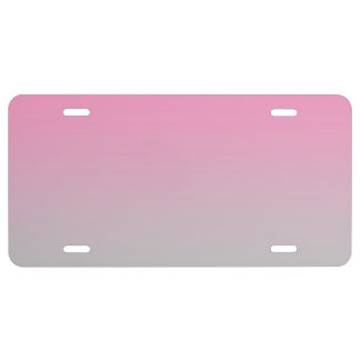"""Pink And Gray Ombre"" License Plate"