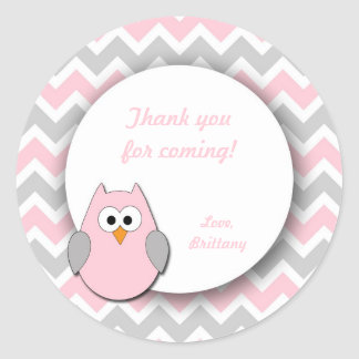 Pink and Gray Owl Baby Shower Favor Stickers