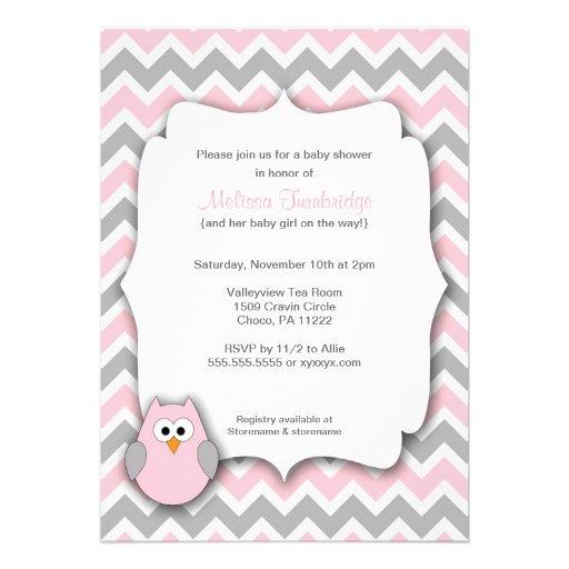 pink and gray owl chevron baby shower invitations 5 x 7 invitatio