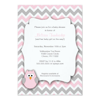 Pink and Gray Owl Chevron Baby Shower Invitations