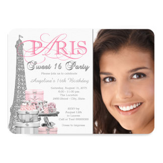 Pink and Gray Paris Sweet 16 Birthday Party Card