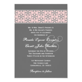 Pink and Gray Pattern Insert Wedding Monogram 232 Card