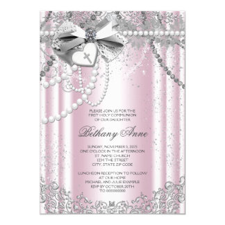 Pink and Gray Pearl First Communion 5x7 Paper Invitation Card