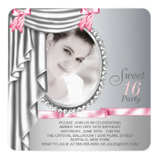 Pink and Gray Photo Sweet 16 Birthday Party Card