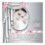 Pink and Gray Photo Sweet 16 Birthday Party Invites
