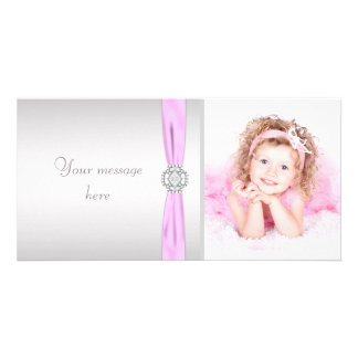 Pink and Gray Photo Thank You Card