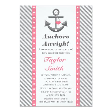 Beach Themed Pink and Gray Polka Anchor Nautical Baby Shower Card