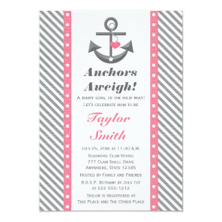 Pink and Gray Polka Anchor Nautical Baby Shower 5x7 Paper Invitation Card