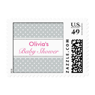 Pink and gray polka dot stamps for baby shower