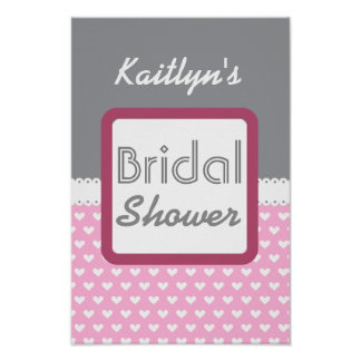 Pink and Gray Polka Dot Theme Bridal Shower A01. Poster
