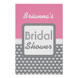 Pink and Gray Polka Dot Theme Bridal Shower B01 Poster