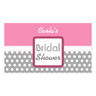 Pink and Gray Polka Dot Theme Bridal Shower D03 Business Card