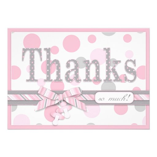 Pink and Gray Polka Dots Thank You Baby Shower Custom Invite