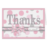 Pink and Gray Polka Dots Thank You Baby Shower Stationery Note Card