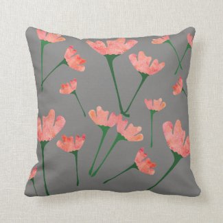 Pink and Gray Poppy Pillow