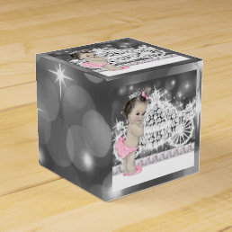 Pink and Gray Princess Baby Shower Favor Box