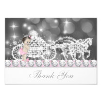 Pink and Gray Princess Baby Shower Thank You Card