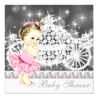 Pink and Gray Princess Ballerina Tutu Baby Shower 5.25x5.25 Square Paper Invitation Card