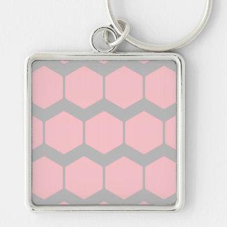 Pink and Gray, Retro Geometric Zigzag Pattern. Keychain