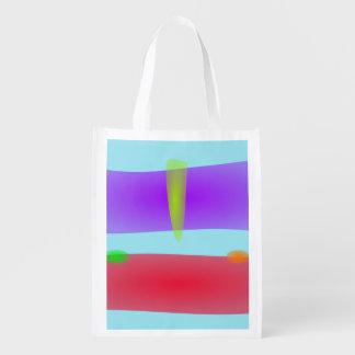 Pink and Gray Reusable Grocery Bag