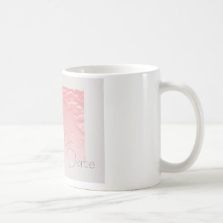Pink and Gray Rose Save the Date Coffee Mug
