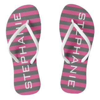 Pink and Gray Rugby Stripes with Custom Name Flip Flops