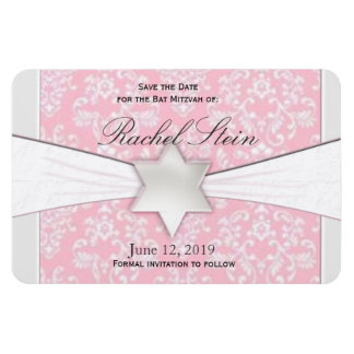 Pink and gray save the date Bat Mitzvah Magnet