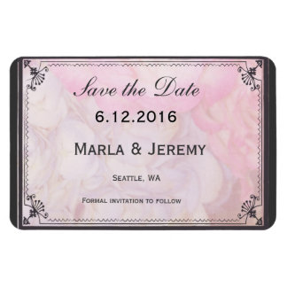 Pink and gray save the date magnet